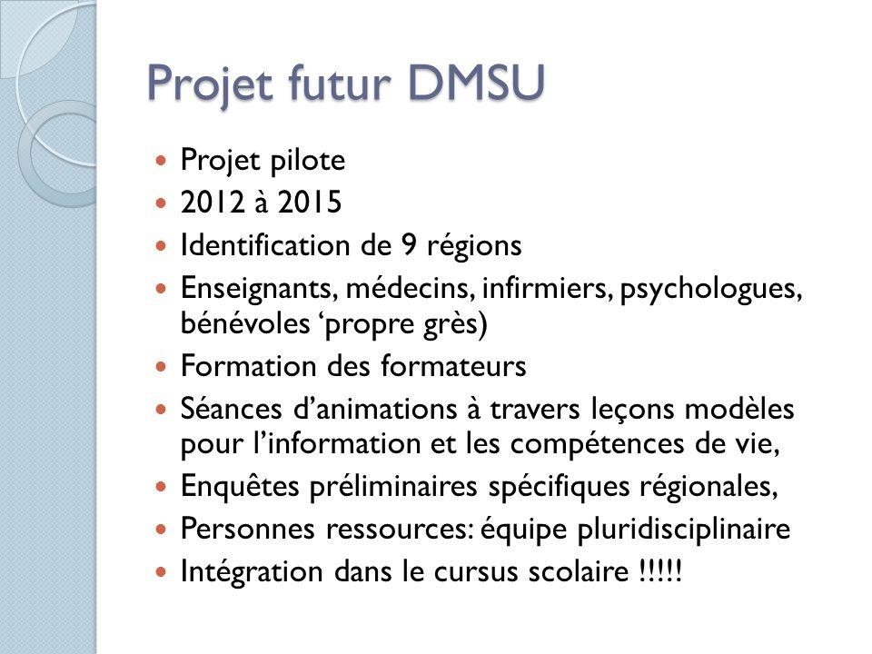Projet futur DMSU Projet pilote 2012 à 2015 Identification de 9 régions Enseignants, médecins, infirmiers, psychologues, bénévoles 'propre grès) Forma
