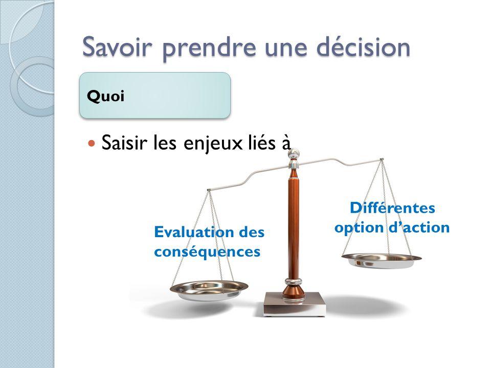 Savoir prendre une décision Comment Définir le problème Colleter les données Exploiter les différentes solutions Reconnaître les conséquences possible Choisir et essayer la meilleur solution Evaluer la décision finale