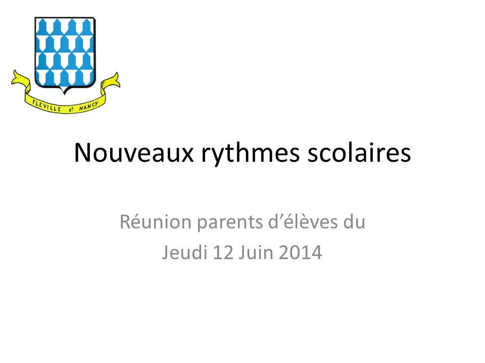 Nouveaux rythmes scolaires Réunion parents d'élèves du Jeudi 12 Juin 2014