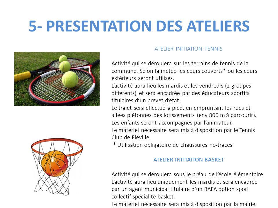 5- PRESENTATION DES ATELIERS ATELIER INITIATION TENNIS Activité qui se déroulera sur les terrains de tennis de la commune. Selon la météo les cours co