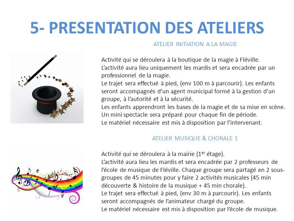 5- PRESENTATION DES ATELIERS ATELIER INITIATION A LA MAGIE Activité qui se déroulera à la boutique de la magie à Fléville. L'activité aura lieu unique
