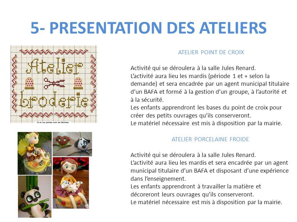 5- PRESENTATION DES ATELIERS ATELIER POINT DE CROIX Activité qui se déroulera à la salle Jules Renard. L'activité aura lieu les mardis (période 1 et +