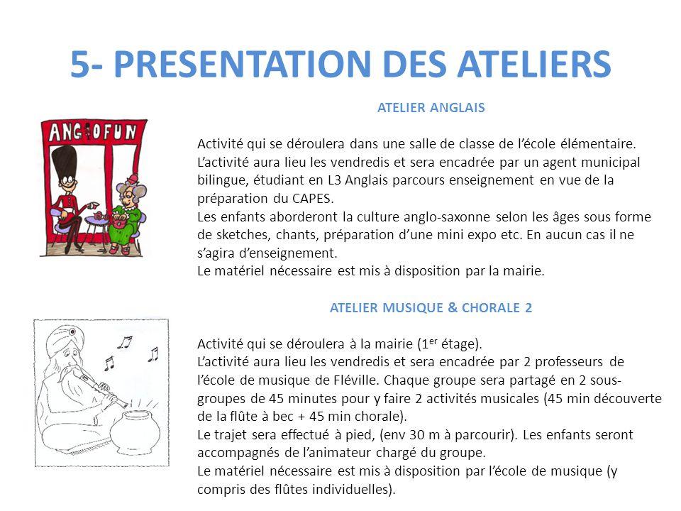 5- PRESENTATION DES ATELIERS ATELIER ANGLAIS Activité qui se déroulera dans une salle de classe de l'école élémentaire. L'activité aura lieu les vendr