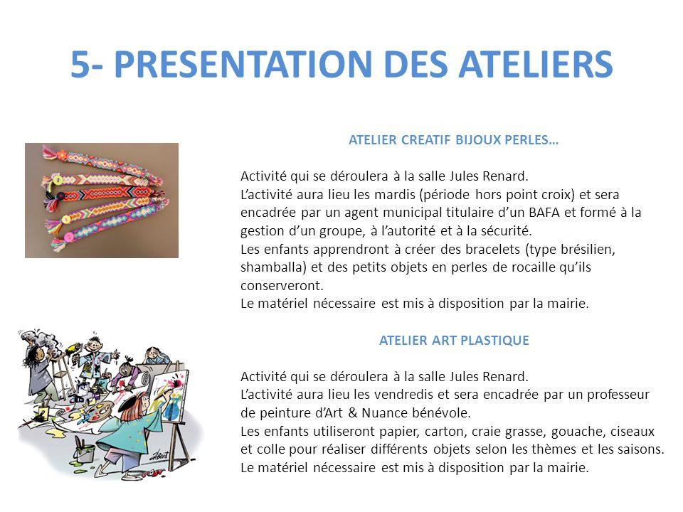 5- PRESENTATION DES ATELIERS ATELIER CREATIF BIJOUX PERLES… Activité qui se déroulera à la salle Jules Renard. L'activité aura lieu les mardis (périod