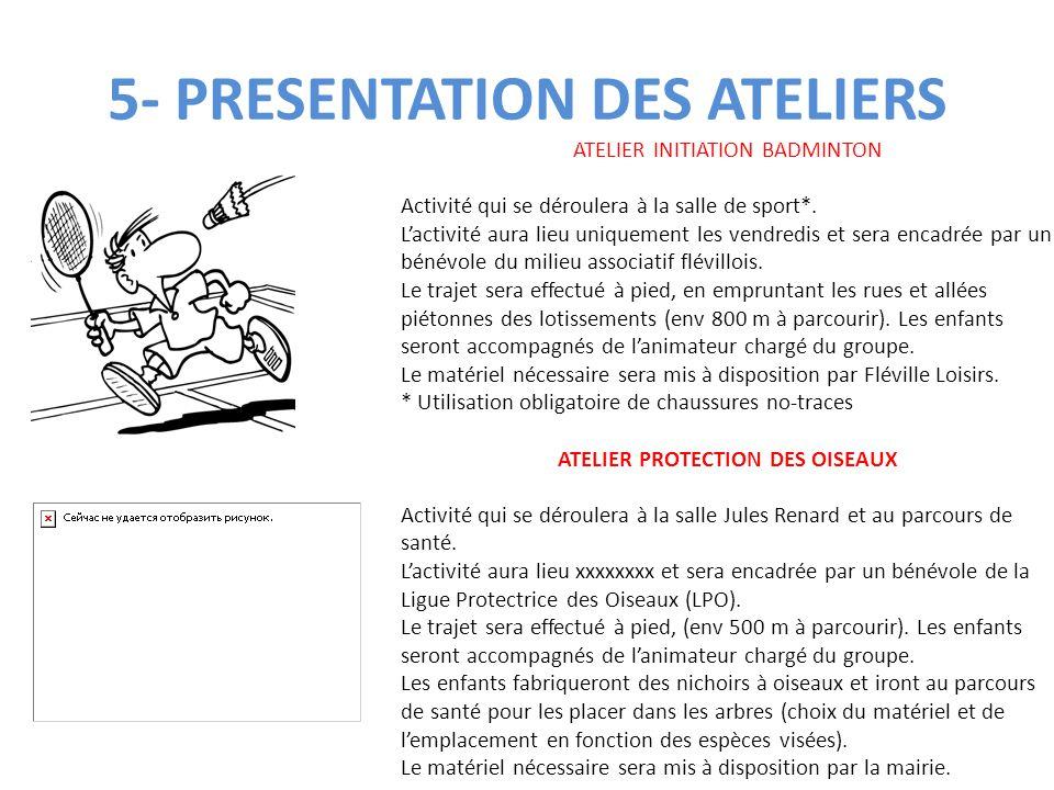 5- PRESENTATION DES ATELIERS ATELIER INITIATION BADMINTON Activité qui se déroulera à la salle de sport*. L'activité aura lieu uniquement les vendredi