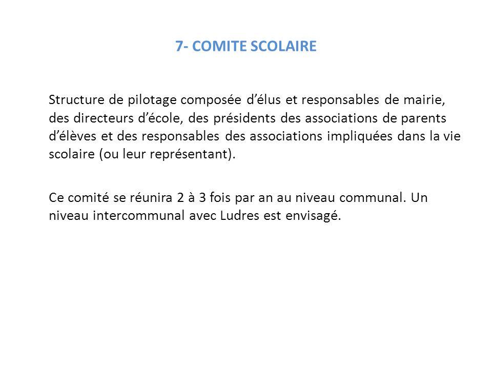7- COMITE SCOLAIRE Structure de pilotage composée d'élus et responsables de mairie, des directeurs d'école, des présidents des associations de parents