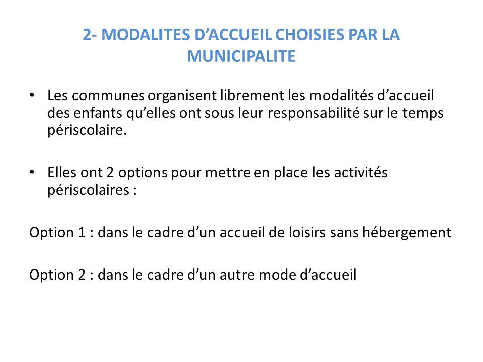 2- MODALITES D'ACCUEIL CHOISIES PAR LA MUNICIPALITE Les communes organisent librement les modalités d'accueil des enfants qu'elles ont sous leur respo