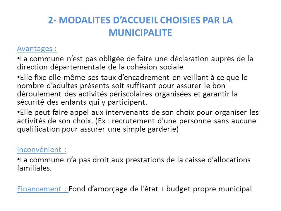 2- MODALITES D'ACCUEIL CHOISIES PAR LA MUNICIPALITE Avantages : La commune n'est pas obligée de faire une déclaration auprès de la direction départeme