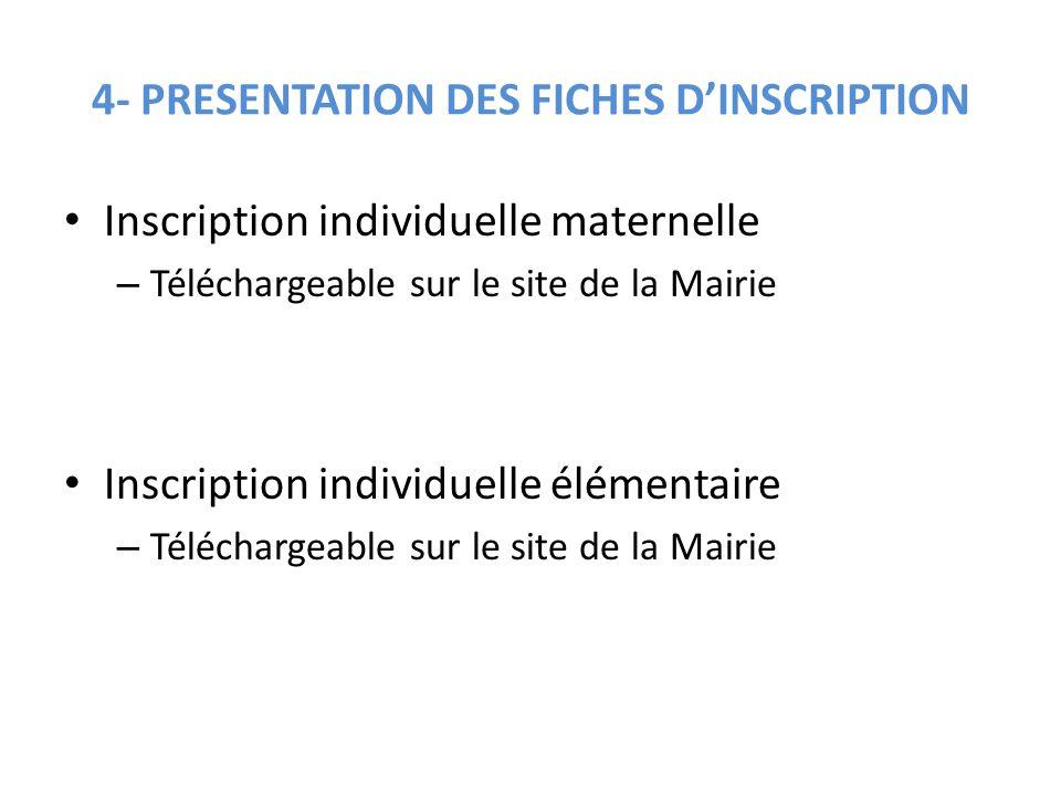 4- PRESENTATION DES FICHES D'INSCRIPTION Inscription individuelle maternelle – Téléchargeable sur le site de la Mairie Inscription individuelle élémen
