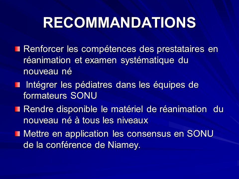 RECOMMANDATIONS Renforcer les compétences des prestataires en réanimation et examen systématique du nouveau né Intégrer les pédiatres dans les équipes