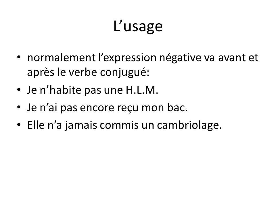 L'usage normalement l'expression négative va avant et après le verbe conjugué: Je n'habite pas une H.L.M. Je n'ai pas encore reçu mon bac. Elle n'a ja