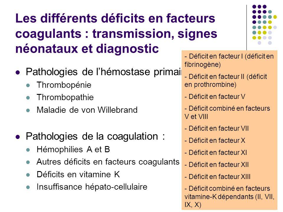 Les différents déficits en facteurs coagulants : transmission, signes néonataux et diagnostic Pathologies de l'hémostase primaire : Thrombopénie Throm