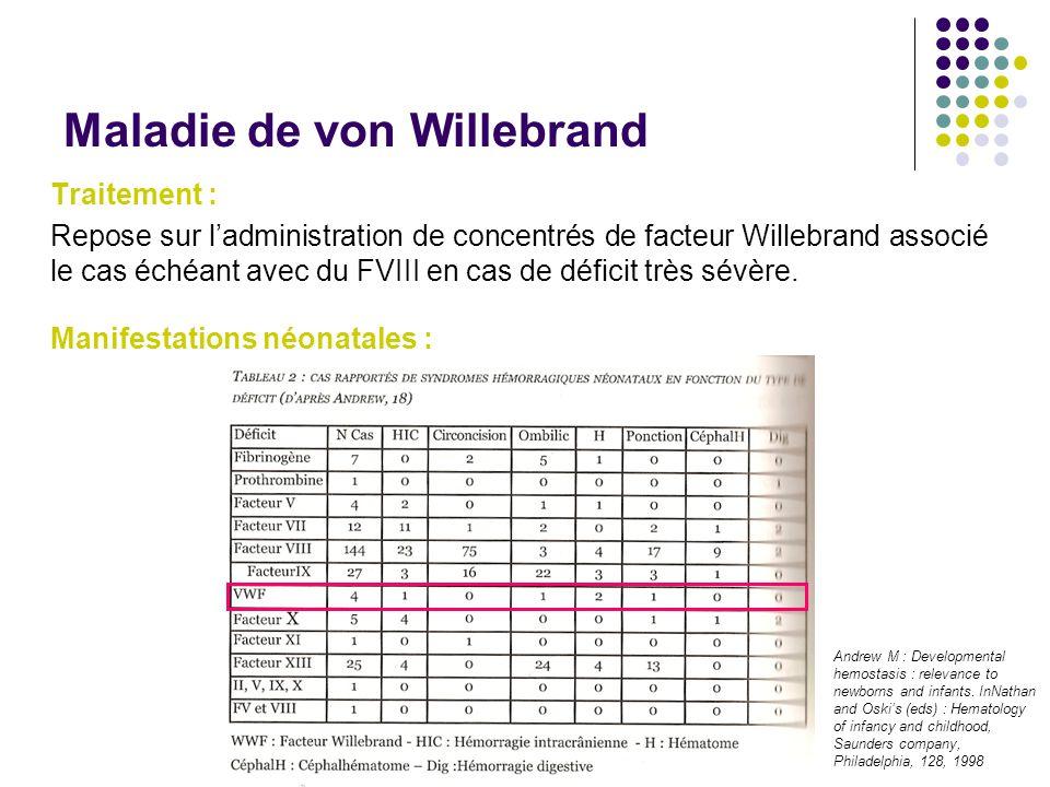 Maladie de von Willebrand Traitement : Repose sur l'administration de concentrés de facteur Willebrand associé le cas échéant avec du FVIII en cas de