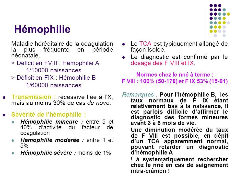 Hémophilie Maladie héréditaire de la coagulation la plus fréquente en période néonatale. > Déficit en FVIII : Hémophilie A 1/10000 naissances > Défici