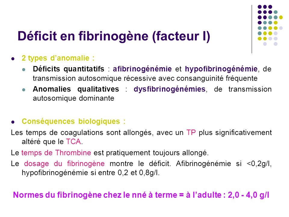 Déficit en fibrinogène (facteur I) 2 types d'anomalie : Déficits quantitatifs : afibrinogénémie et hypofibrinogénémie, de transmission autosomique réc