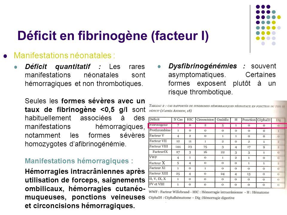 Déficit en fibrinogène (facteur I) Manifestations néonatales : Déficit quantitatif : Les rares manifestations néonatales sont hémorragiques et non thr
