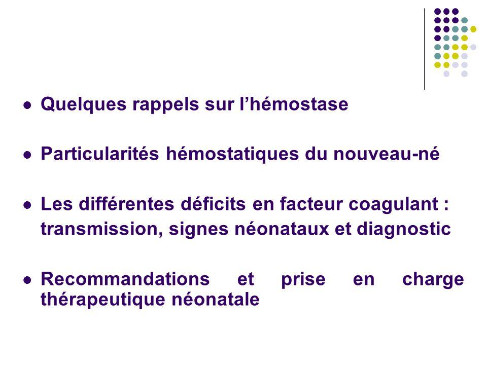 Quelques rappels sur l'hémostase Particularités hémostatiques du nouveau-né Les différentes déficits en facteur coagulant : transmission, signes néona