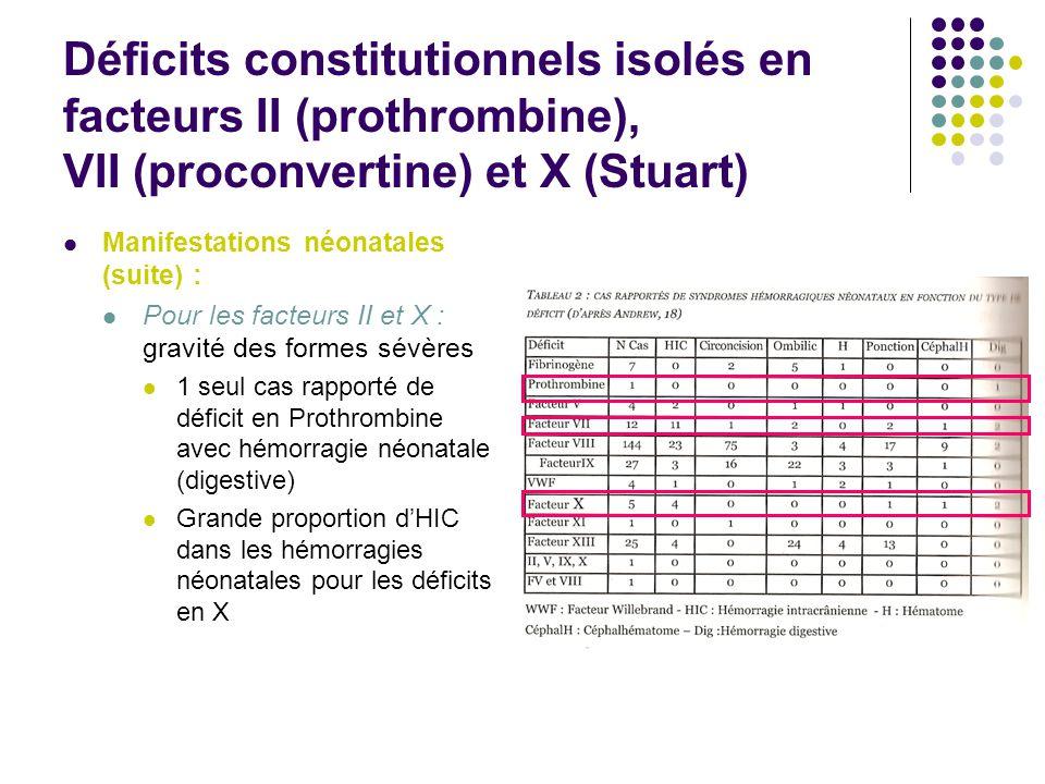 Déficits constitutionnels isolés en facteurs II (prothrombine), VII (proconvertine) et X (Stuart) Manifestations néonatales (suite) : Pour les facteur