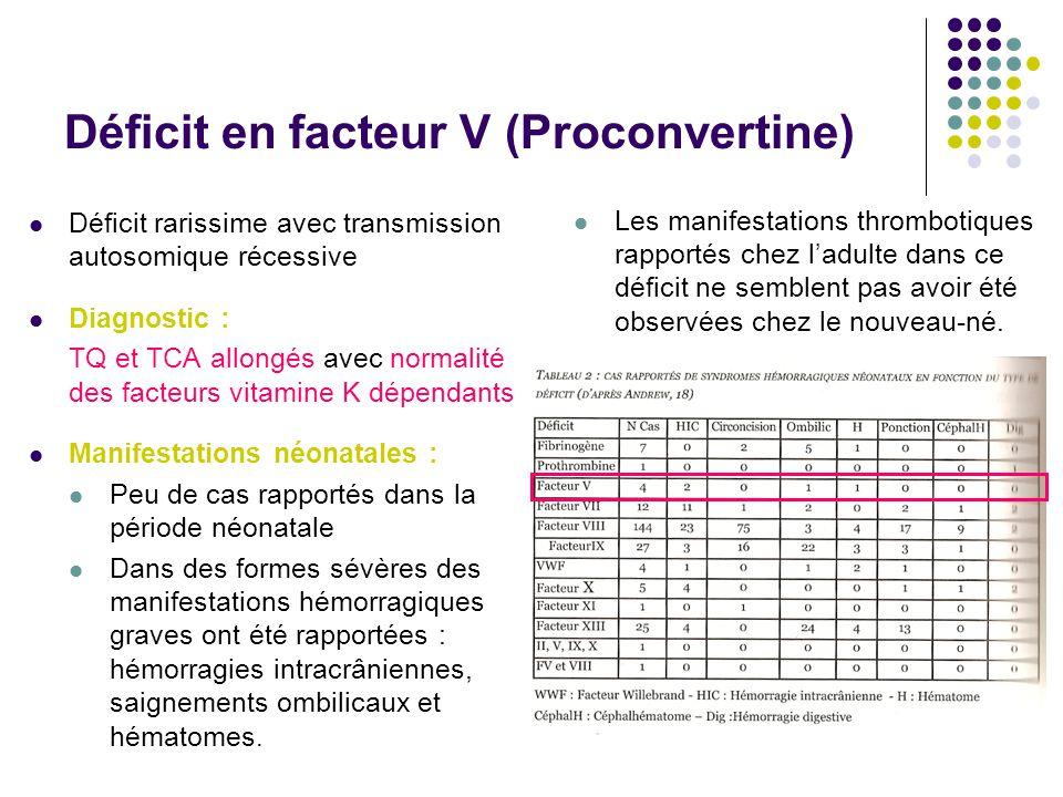 Déficit en facteur V (Proconvertine) Déficit rarissime avec transmission autosomique récessive Diagnostic : TQ et TCA allongés avec normalité des fact