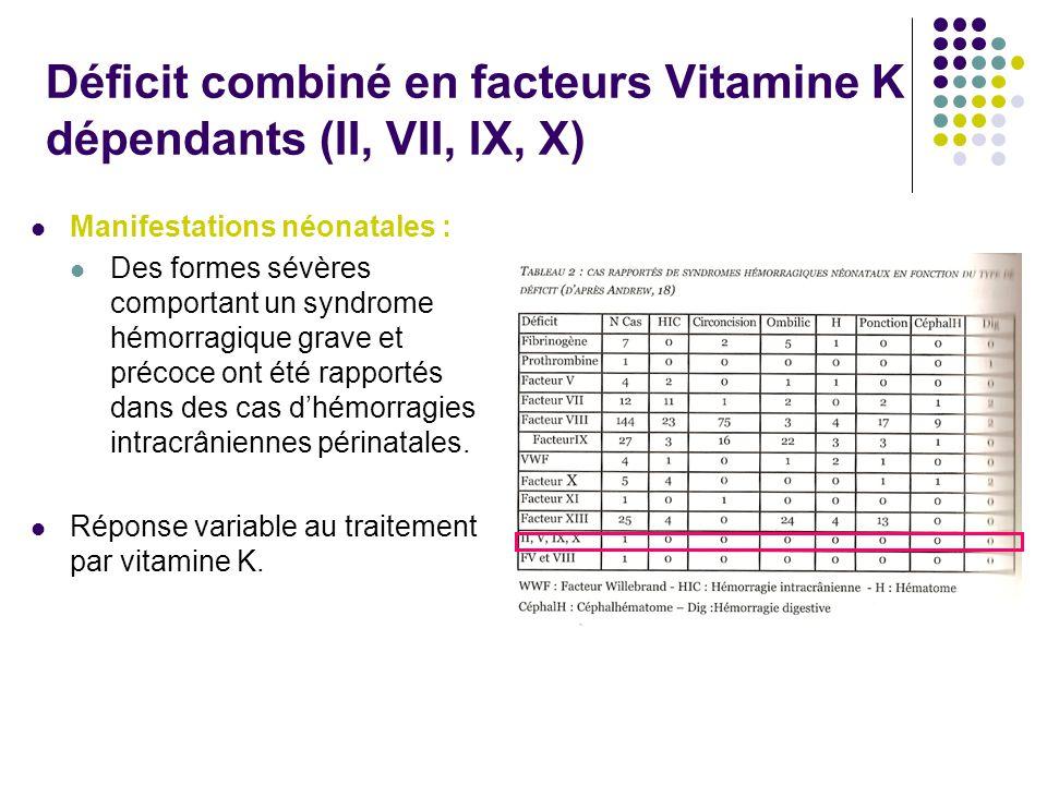 Déficit combiné en facteurs Vitamine K dépendants (II, VII, IX, X) Manifestations néonatales : Des formes sévères comportant un syndrome hémorragique