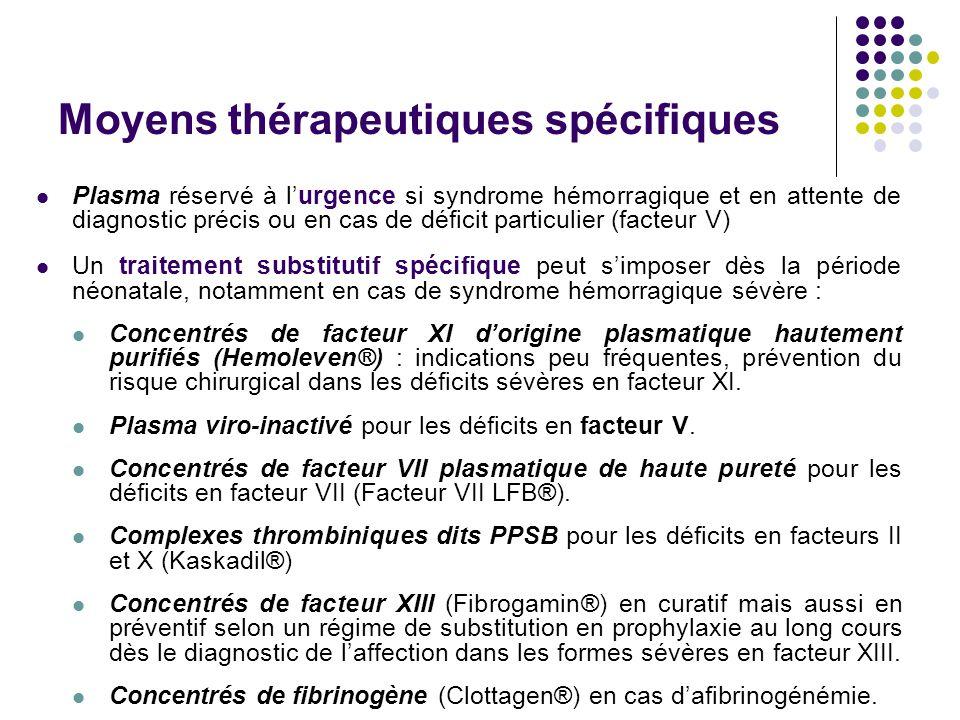 Moyens thérapeutiques spécifiques Plasma réservé à l'urgence si syndrome hémorragique et en attente de diagnostic précis ou en cas de déficit particul