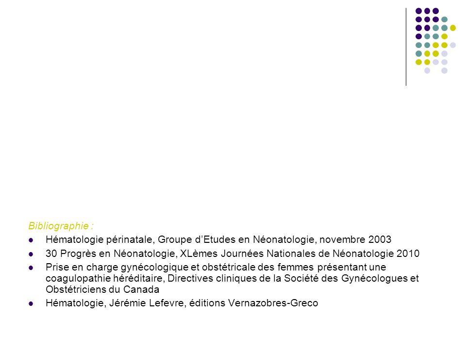 Bibliographie : Hématologie périnatale, Groupe d'Etudes en Néonatologie, novembre 2003 30 Progrès en Néonatologie, XLèmes Journées Nationales de Néona