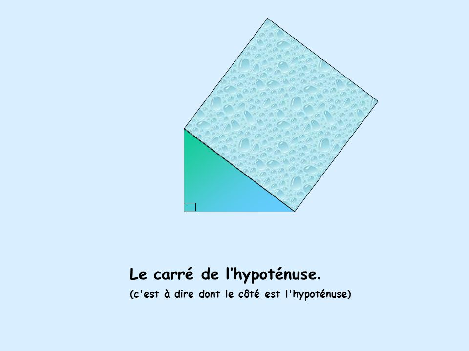 Le carré de l'hypoténuse. (c est à dire dont le côté est l hypoténuse)