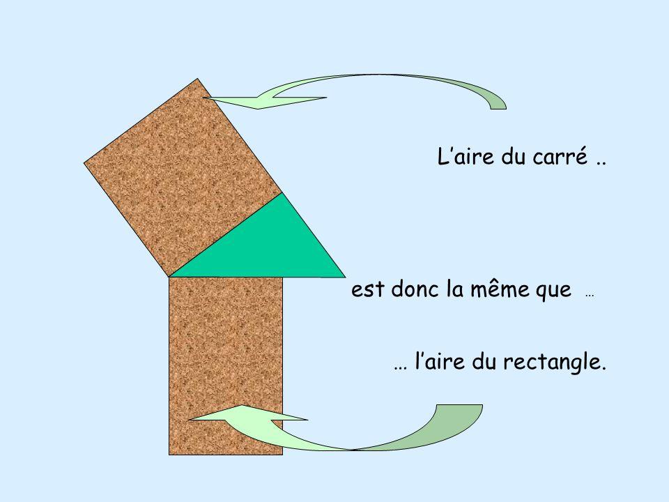 Si on double l 'aire de ces deux triangles: Alors on complète le carré Et on complète aussi le rectangle.