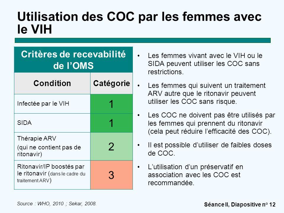 Séance II, Diapositive n o 12 Utilisation des COC par les femmes avec le VIH Les femmes vivant avec le VIH ou le SIDA peuvent utiliser les COC sans restrictions.