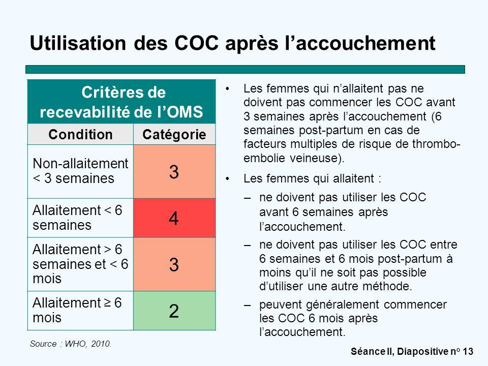 Séance II, Diapositive n o 13 Utilisation des COC après l'accouchement Les femmes qui n'allaitent pas ne doivent pas commencer les COC avant 3 semaines après l'accouchement (6 semaines post-partum en cas de facteurs multiples de risque de thrombo- embolie veineuse).