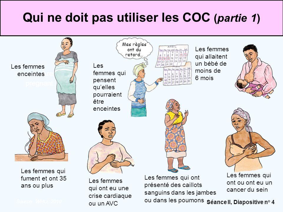 Séance II, Diapositive n o 4 Source: WHO, 2010. Are pregnant Mes règles ont du retard… Qui ne doit pas utiliser les COC (partie 1) Les femmes qui alla