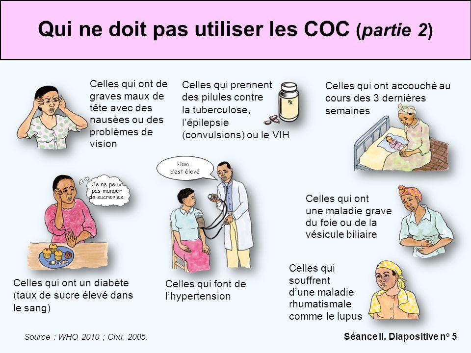 Séance II, Diapositive n o 5 Source: WHO, 2010. Qui ne doit pas utiliser les COC (partie 2) Celles qui souffrent d'une maladie rhumatismale comme le l