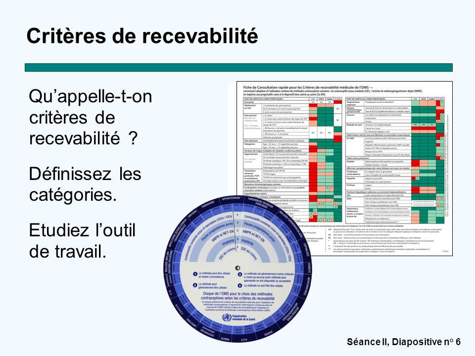 Séance II, Diapositive n o 6 Critères de recevabilité Qu'appelle-t-on critères de recevabilité ? Définissez les catégories. Etudiez l'outil de travail