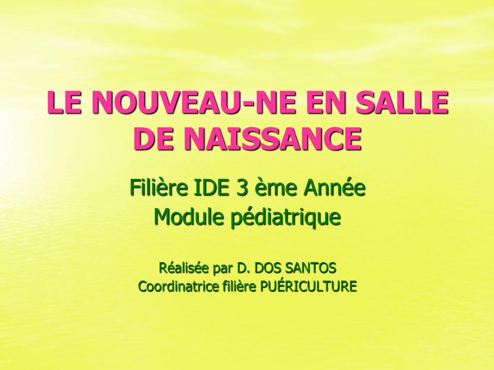 LE NOUVEAU-NE EN SALLE DE NAISSANCE Filière IDE 3 ème Année Module pédiatrique Réalisée par D. DOS SANTOS Coordinatrice filière PUÉRICULTURE