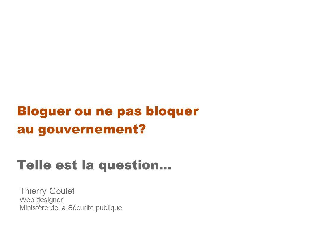 Bloguer ou ne pas bloquer au gouvernement. Telle est la question...