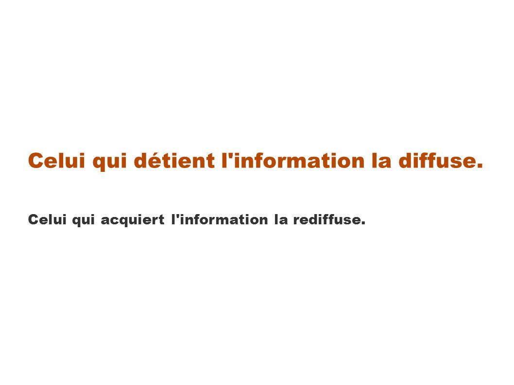 Celui qui détient l information la diffuse. Celui qui acquiert l information la rediffuse.