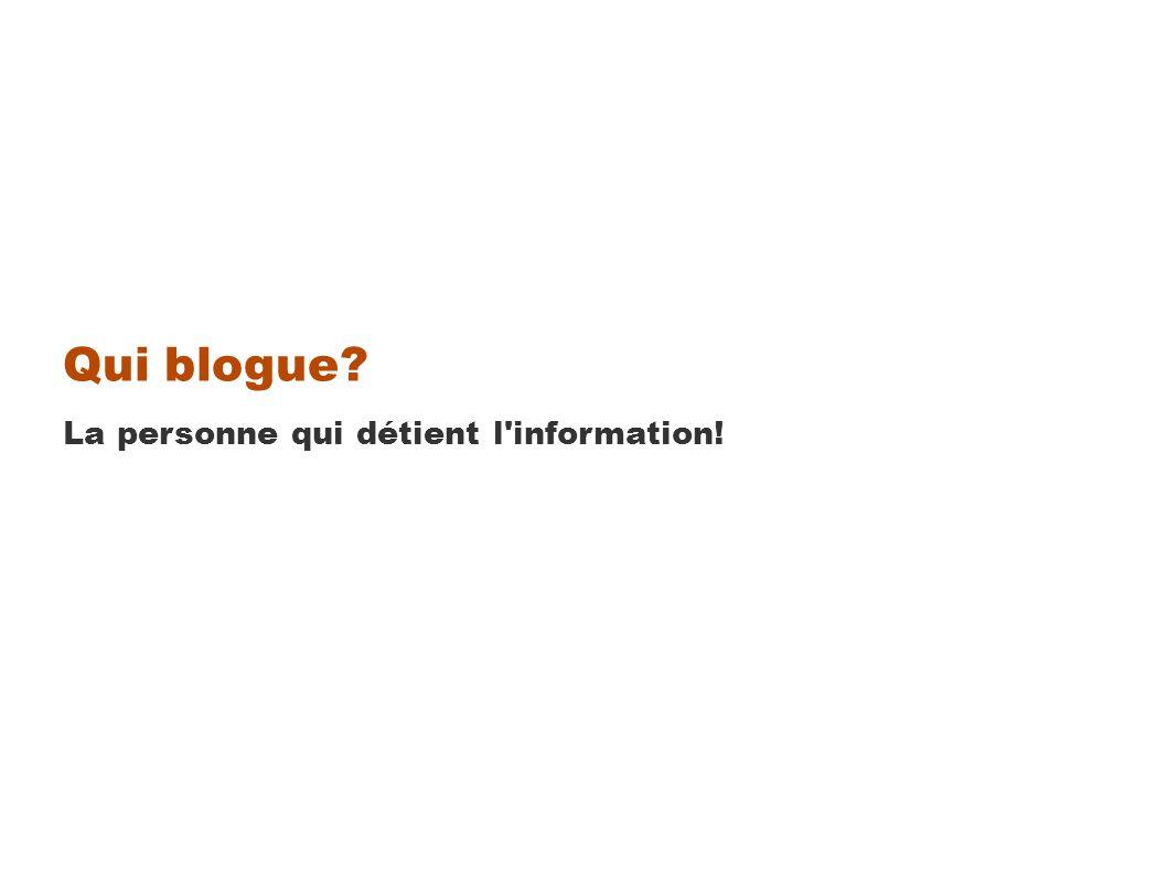 Qui blogue La personne qui détient l information!