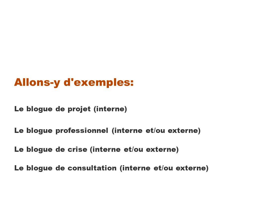 Allons-y d exemples: Le blogue de projet (interne) Le blogue professionnel (interne et/ou externe) Le blogue de crise (interne et/ou externe) Le blogue de consultation (interne et/ou externe)