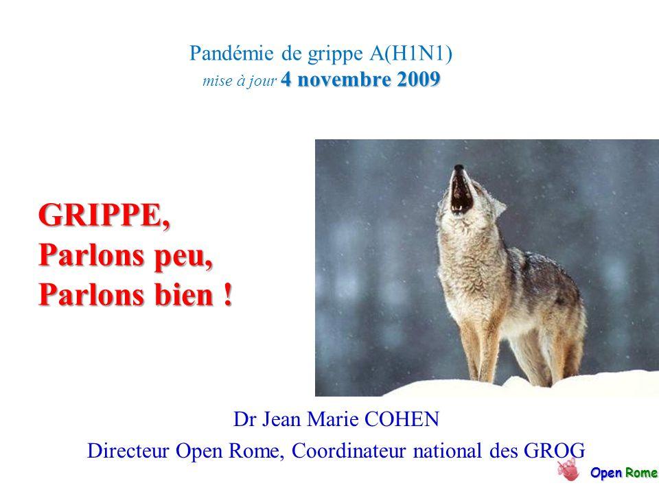 4 novembre 2009 Pandémie de grippe A(H1N1) mise à jour 4 novembre 2009 OpenRome Open Rome Dr Jean Marie COHEN Directeur Open Rome, Coordinateur national des GROG GRIPPE, Parlons peu, Parlons bien !
