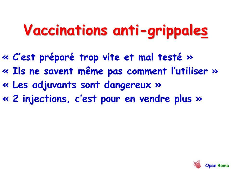 Vaccinations anti-grippales « C'est préparé trop vite et mal testé » « Ils ne savent même pas comment l'utiliser » « Les adjuvants sont dangereux » « 2 injections, c'est pour en vendre plus » OpenRome Open Rome