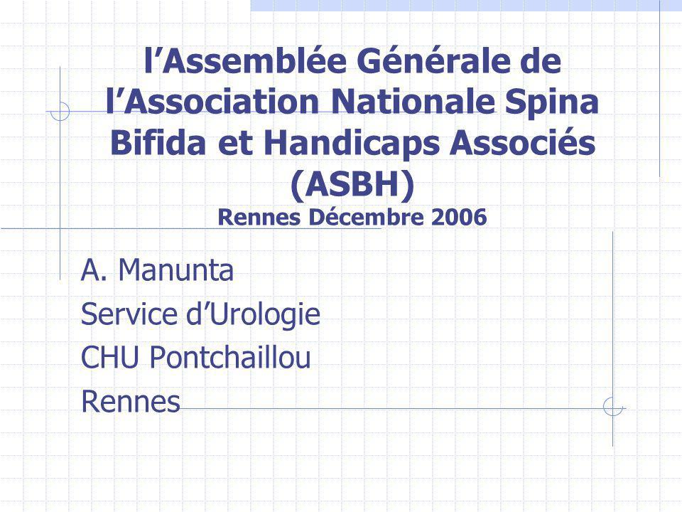 Vessie neurologique (Dysfonctionnement de la vessie et troubles de la miction) 85% des patients atteints de spina bifida 40% des patients avec spina bifida occulta