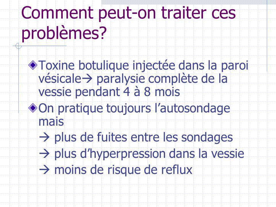 Comment peut-on traiter ces problèmes? Toxine botulique injectée dans la paroi vésicale  paralysie complète de la vessie pendant 4 à 8 mois On pratiq