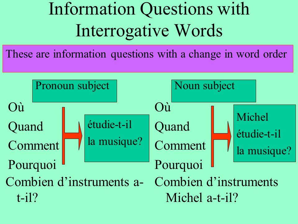 Information Questions with Interrogative Words These are information questions with a change in word order Combien d'instruments a- t-il? Où Quand Com