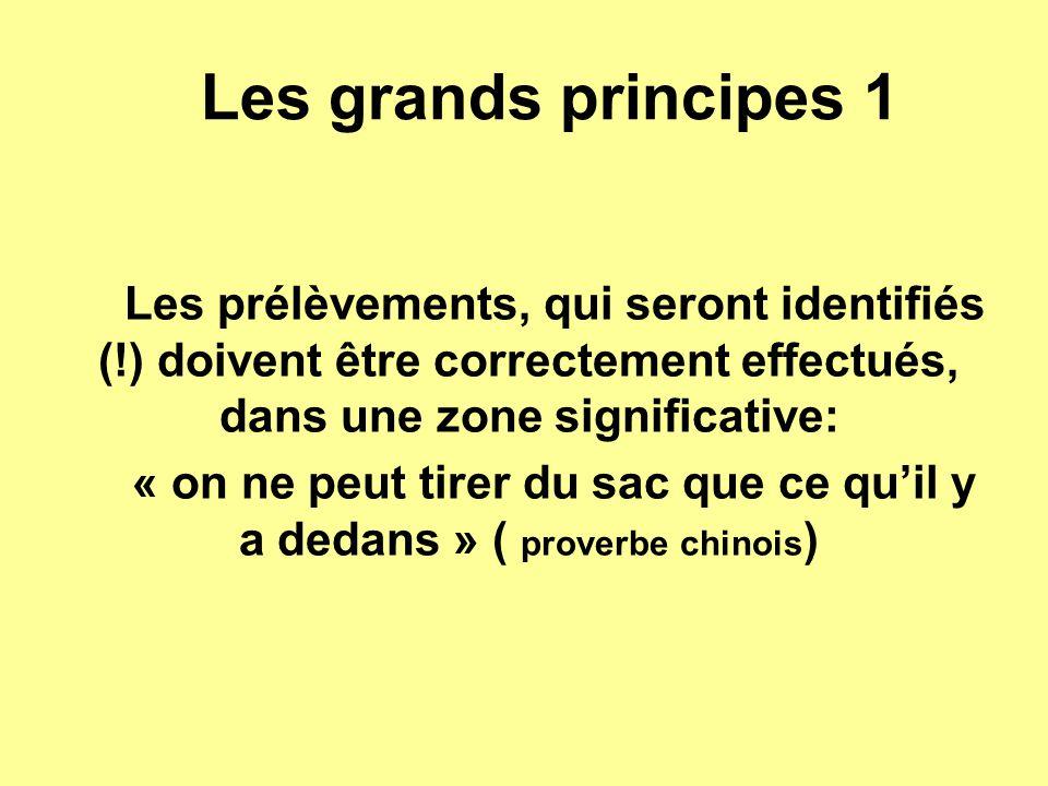 Les grands principes 1 Les prélèvements, qui seront identifiés (!) doivent être correctement effectués, dans une zone significative: « on ne peut tire