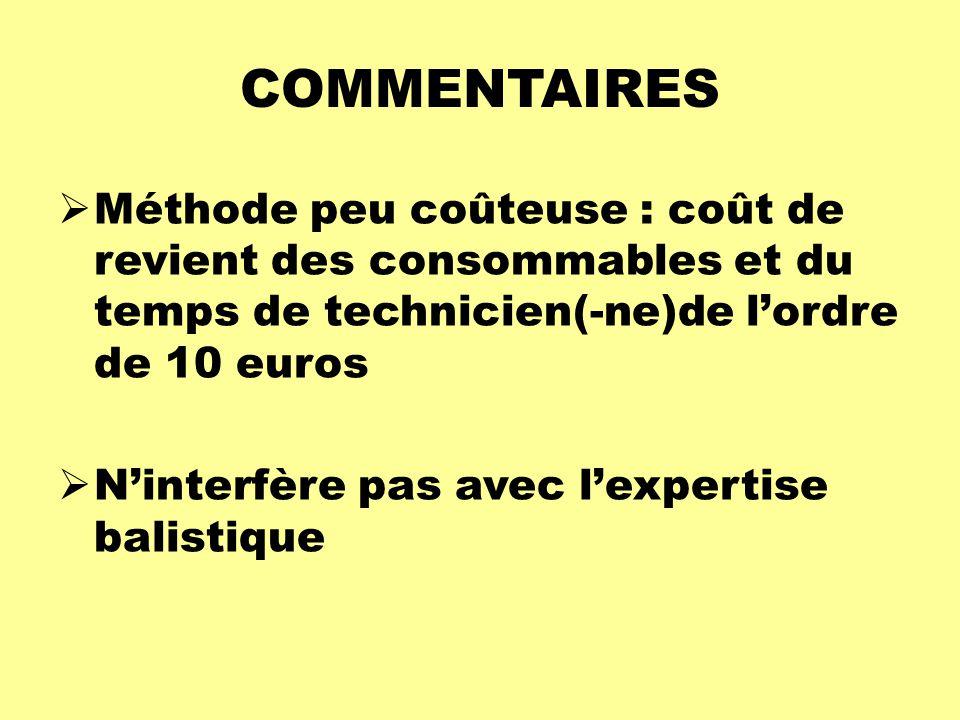 COMMENTAIRES  Méthode peu coûteuse : coût de revient des consommables et du temps de technicien(-ne)de l'ordre de 10 euros  N'interfère pas avec l'e