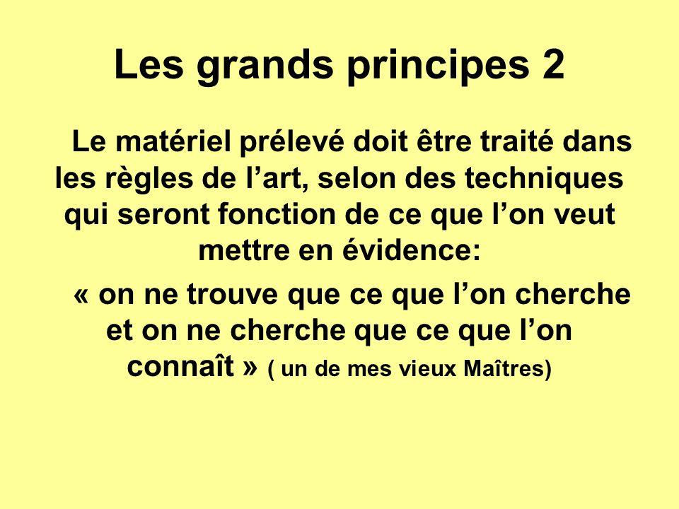 Les grands principes 2 Le matériel prélevé doit être traité dans les règles de l'art, selon des techniques qui seront fonction de ce que l'on veut met