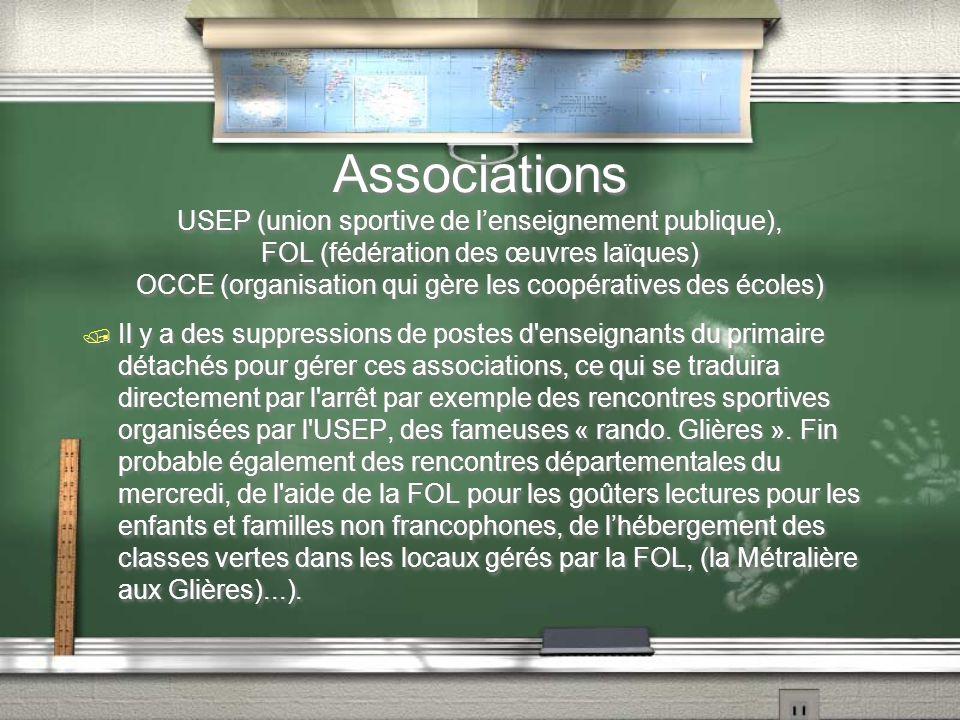 Associations USEP (union sportive de l'enseignement publique), FOL (fédération des œuvres laïques) OCCE (organisation qui gère les coopératives des éc