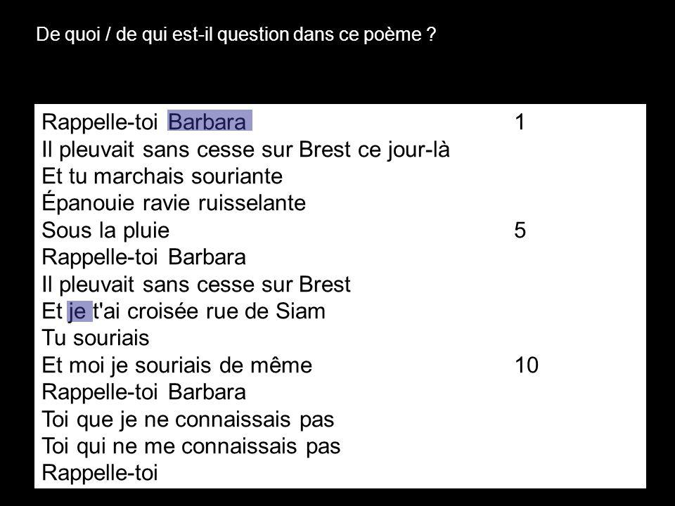 De quoi / de qui est-il question dans ce poème ? Rappelle-toi Barbara1 Il pleuvait sans cesse sur Brest ce jour-là Et tu marchais souriante Épanouie r