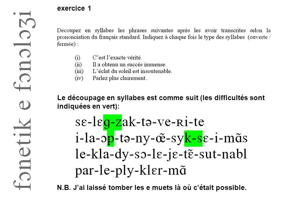 Le découpage en syllabes est comme suit (les difficultés sont indiquées en vert): exercice 1 N.B. J'ai laissé tomber les e muets là où c'était possibl