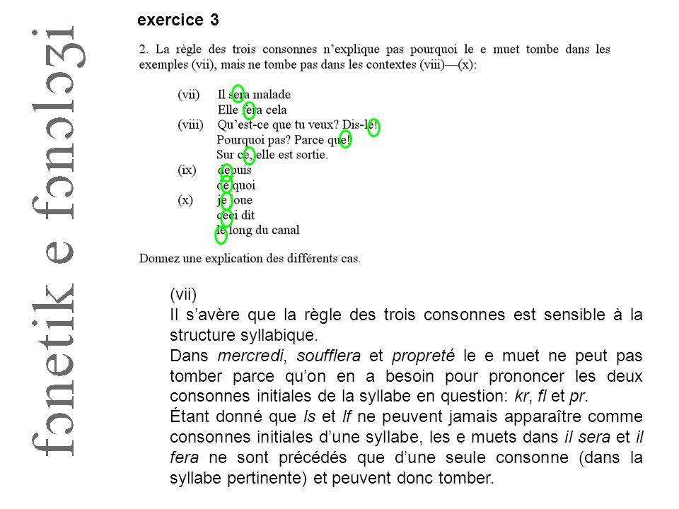 exercice 3 (vii) Il s'avère que la règle des trois consonnes est sensible à la structure syllabique. Dans mercredi, soufflera et propreté le e muet ne